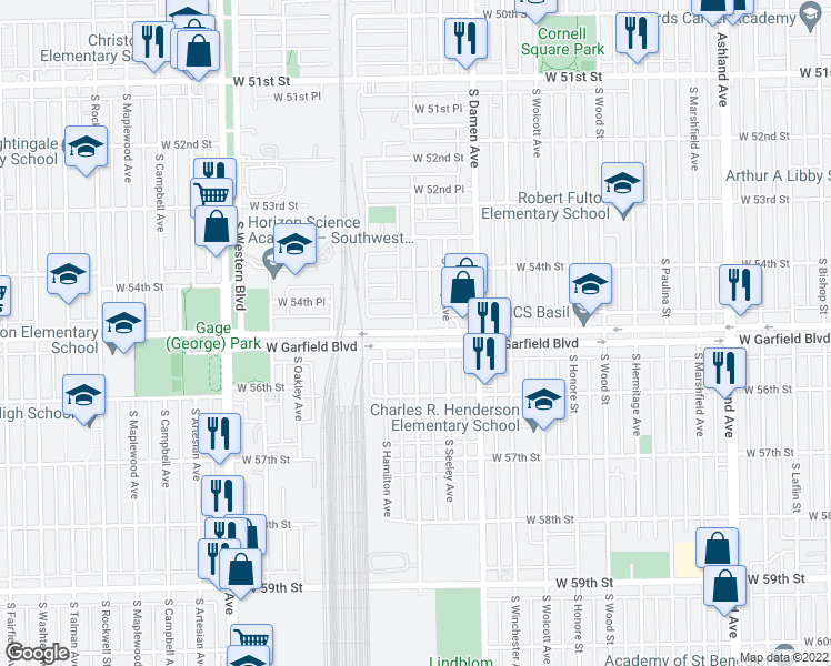map of restaurants, bars, coffee shops, grocery stores, and more near West Garfield Boulevard & South Hoyne Avenue in Chicago
