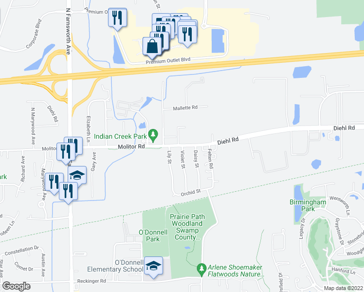 map of restaurants, bars, coffee shops, grocery stores, and more near 1700 Molitor Road in Aurora
