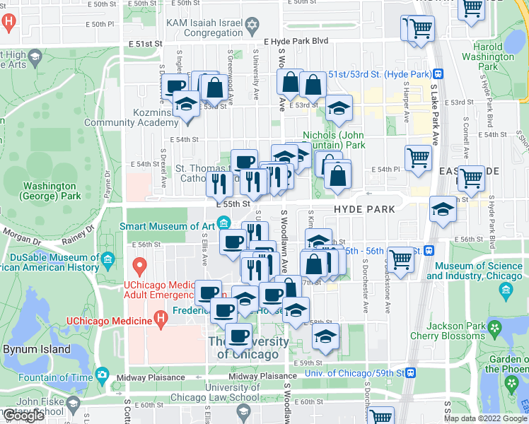 map of restaurants, bars, coffee shops, grocery stores, and more near 5519 South University Avenue in Chicago