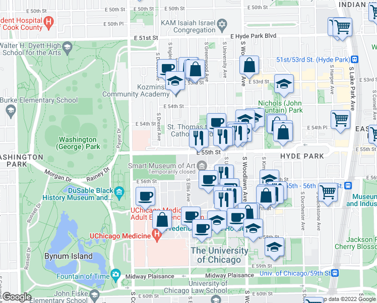 map of restaurants, bars, coffee shops, grocery stores, and more near 5530 South Ellis Avenue in Chicago