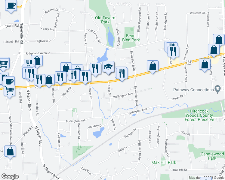map of restaurants, bars, coffee shops, grocery stores, and more near 4935 Keller Street in Lisle