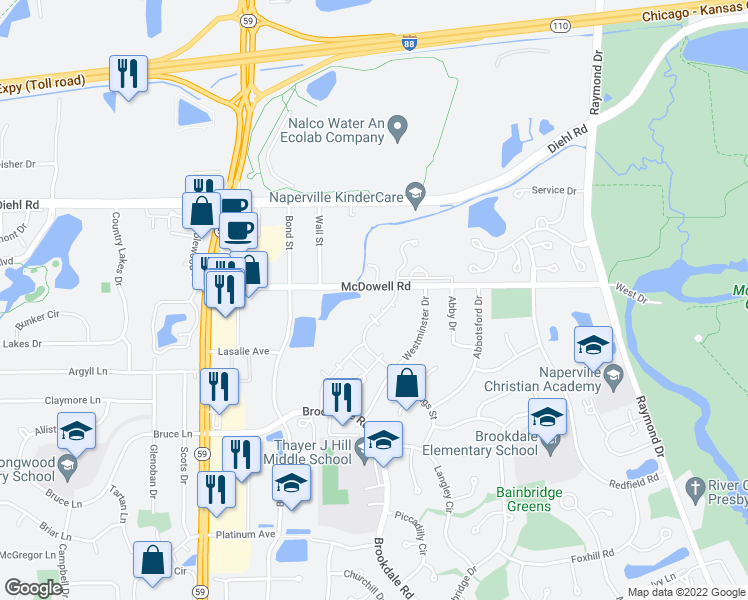 map of restaurants, bars, coffee shops, grocery stores, and more near 1647 Westminster Drive in Naperville