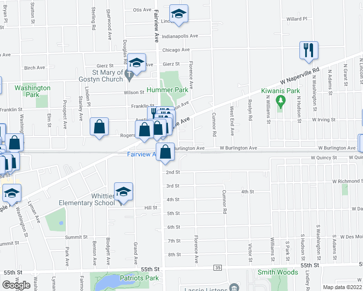 map of restaurants, bars, coffee shops, grocery stores, and more near 5015 Wilcox Avenue in Downers Grove