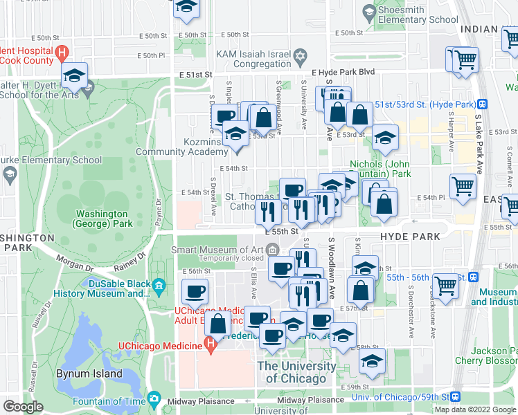 map of restaurants, bars, coffee shops, grocery stores, and more near 5465 South Ellis Avenue in Chicago