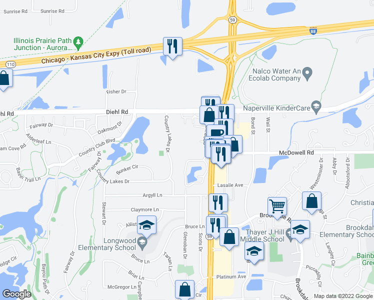 map of restaurants, bars, coffee shops, grocery stores, and more near 5S070 Pebblewood Lane in Naperville