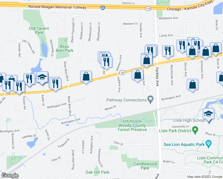 map of restaurants, bars, coffee shops, grocery stores, and more near 2940 Wellington Court in Lisle
