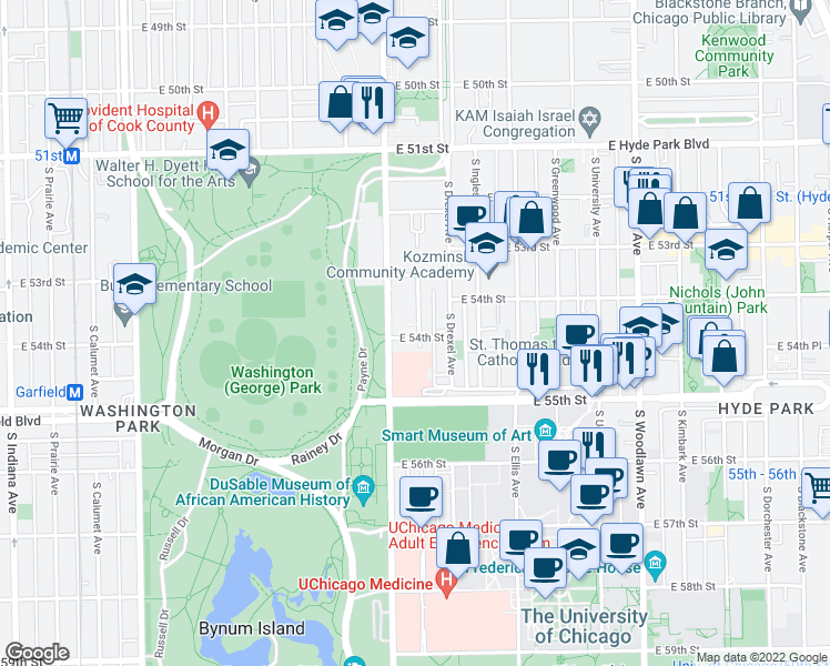 map of restaurants, bars, coffee shops, grocery stores, and more near 5358 South Maryland Avenue in Chicago