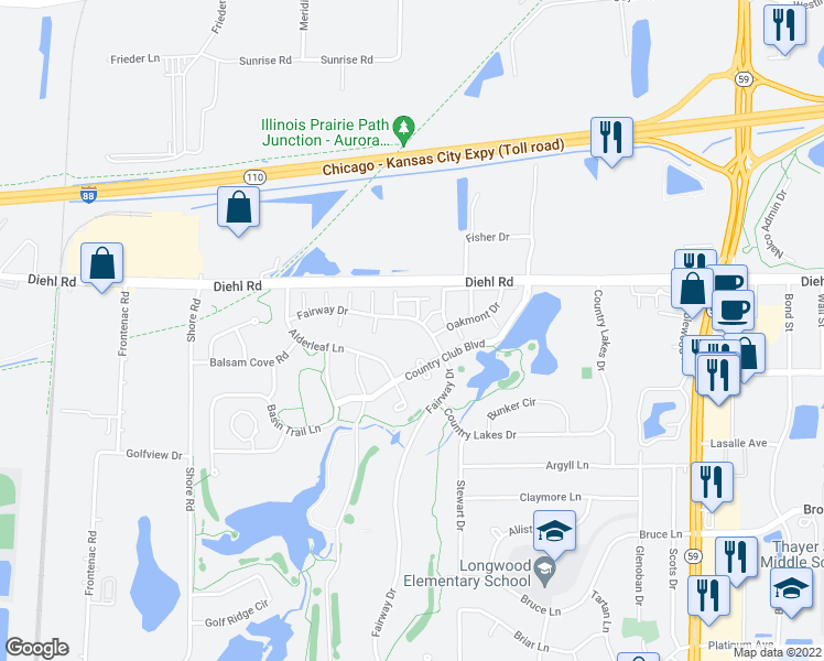 map of restaurants, bars, coffee shops, grocery stores, and more near 30W447 Fairway Drive in Naperville
