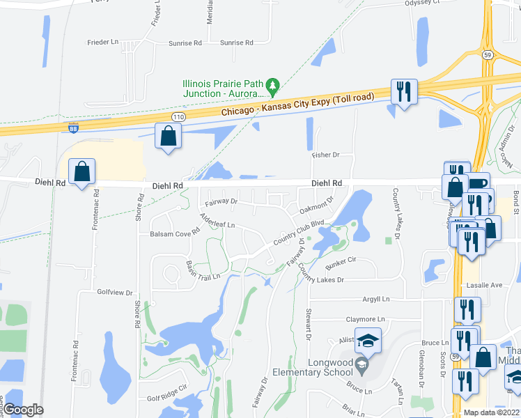 map of restaurants, bars, coffee shops, grocery stores, and more near 5S019 Pebble Beach Court in Naperville
