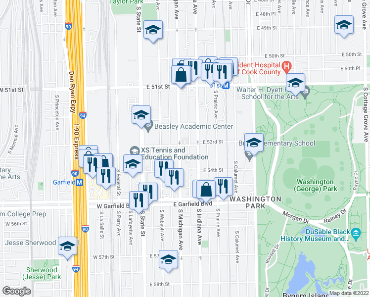 map of restaurants, bars, coffee shops, grocery stores, and more near 109 East 53rd Street in Chicago