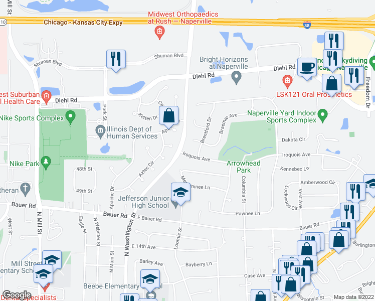 map of restaurants, bars, coffee shops, grocery stores, and more near 413 Iroquois Avenue in Naperville
