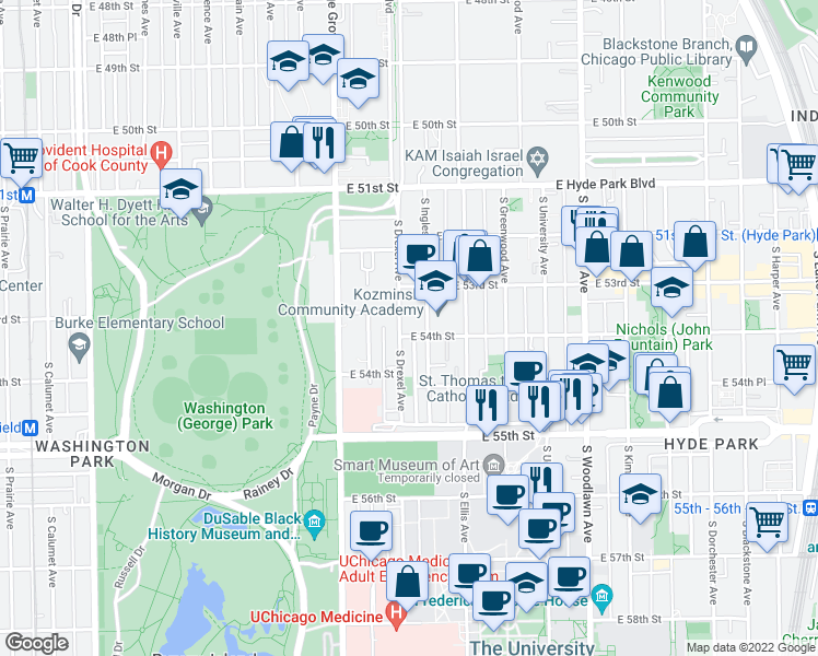 map of restaurants, bars, coffee shops, grocery stores, and more near 5341 South Drexel Avenue in Chicago