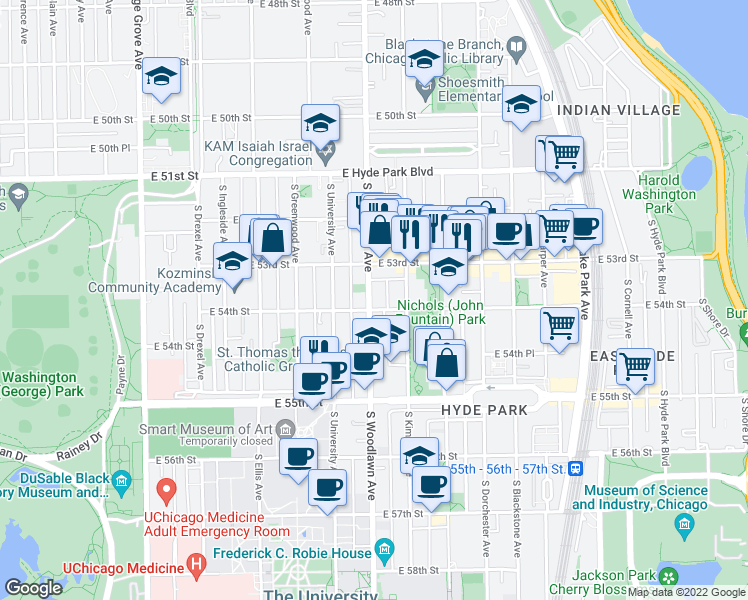 map of restaurants, bars, coffee shops, grocery stores, and more near 5339 South Woodlawn Avenue in Chicago