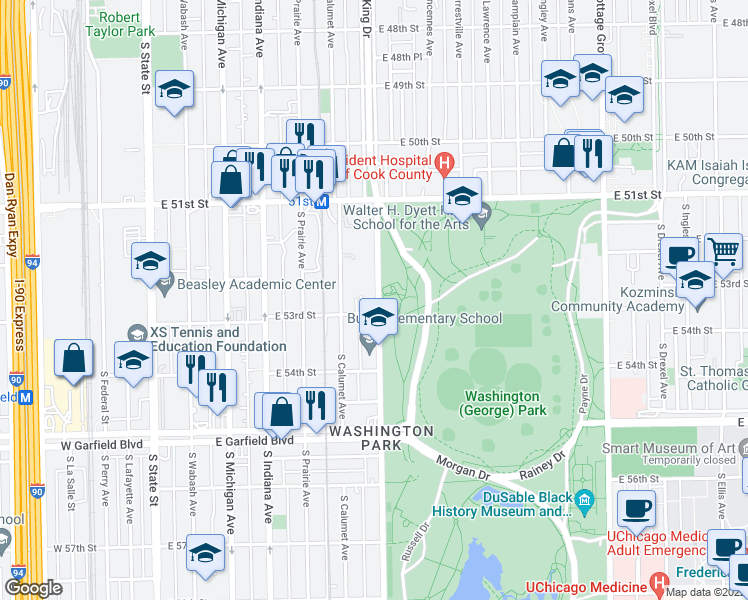 map of restaurants, bars, coffee shops, grocery stores, and more near 5244 South King Drive in Chicago