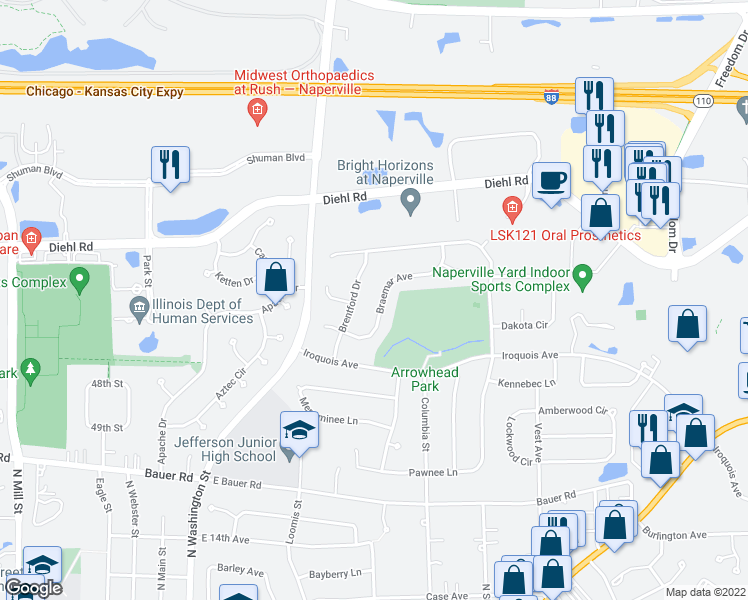 map of restaurants, bars, coffee shops, grocery stores, and more near 529 Braemar Ave in Naperville