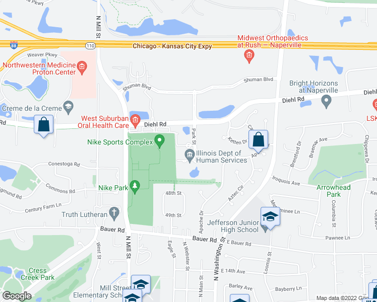 map of restaurants, bars, coffee shops, grocery stores, and more near 1717 Park Street in Naperville