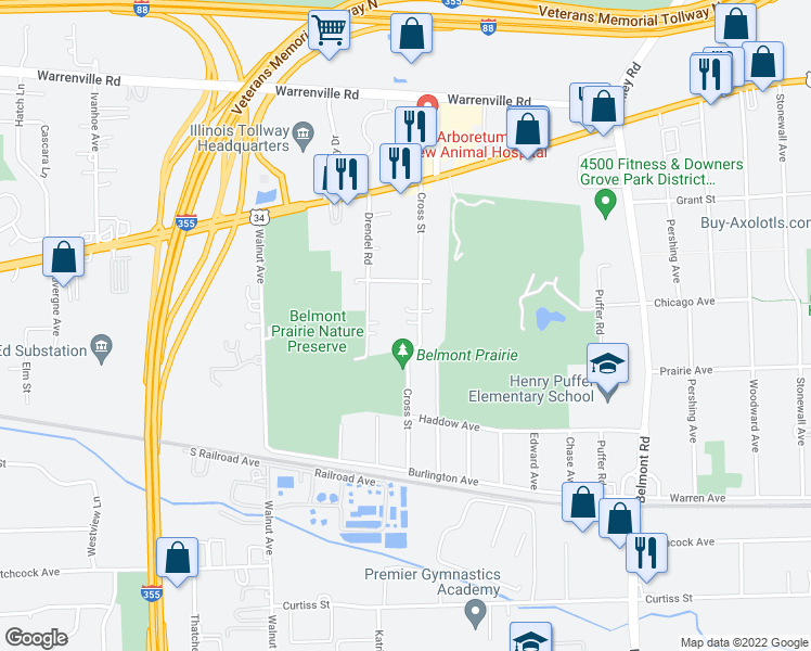 map of restaurants, bars, coffee shops, grocery stores, and more near 4704 Cross Street in Downers Grove
