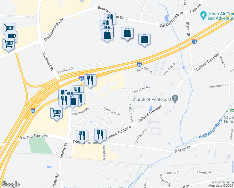 map of restaurants, bars, coffee shops, grocery stores, and more near 150 Redstone Road in Manchester