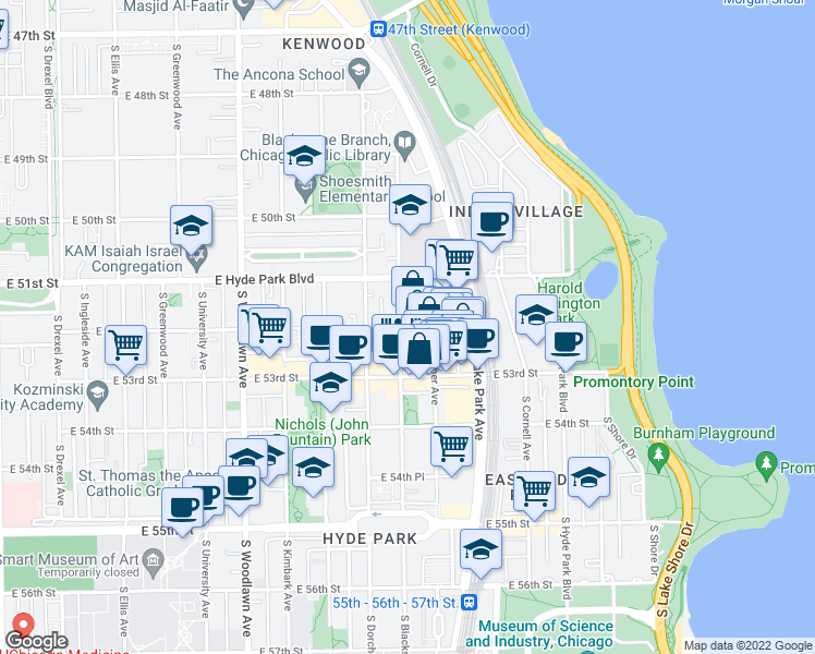 map of restaurants, bars, coffee shops, grocery stores, and more near 5210 South Harper Avenue in Chicago