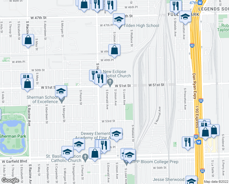map of restaurants, bars, coffee shops, grocery stores, and more near 5132 South Union Avenue in Chi
