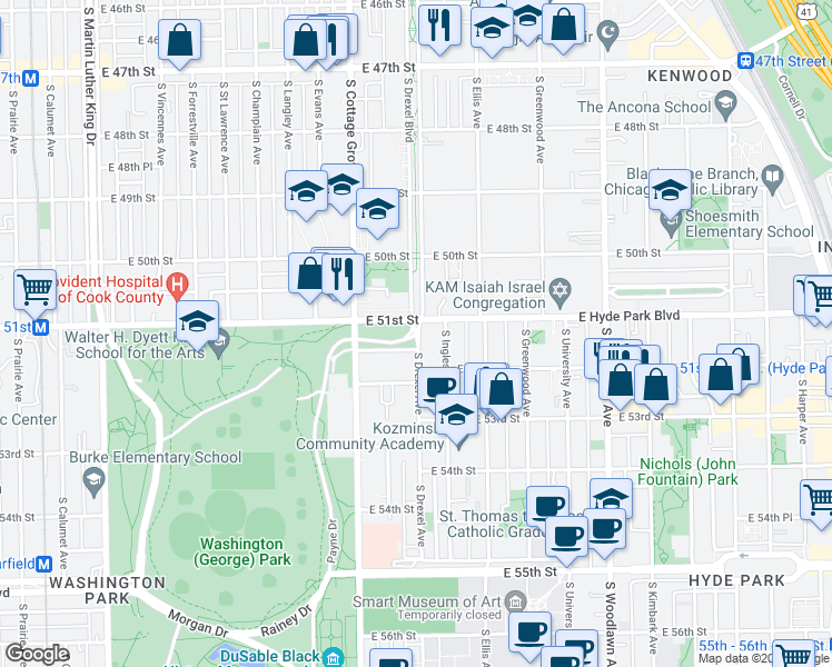 map of restaurants, bars, coffee shops, grocery stores, and more near 4901 South Drexel Avenue in Chicago
