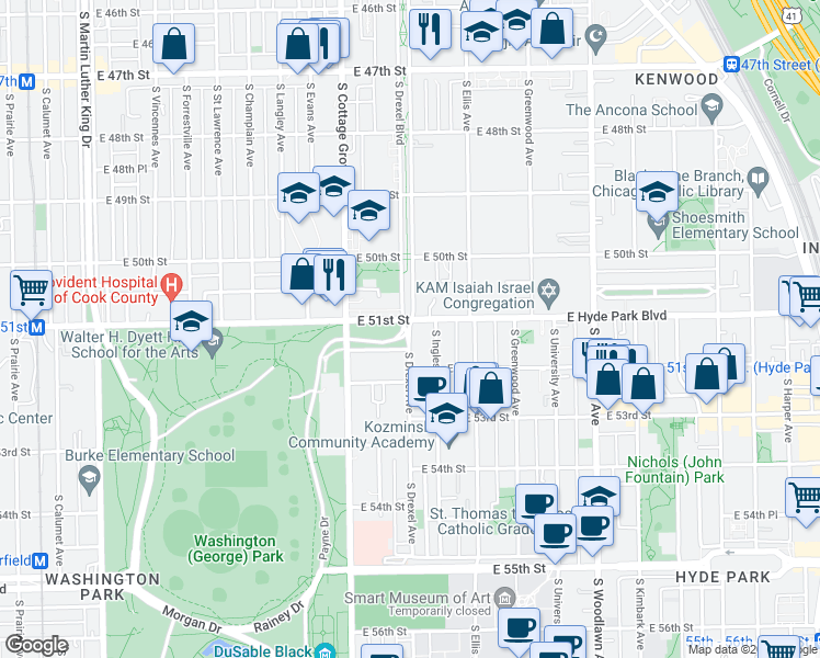map of restaurants, bars, coffee shops, grocery stores, and more near 4520 South Drexel Avenue in Chicago