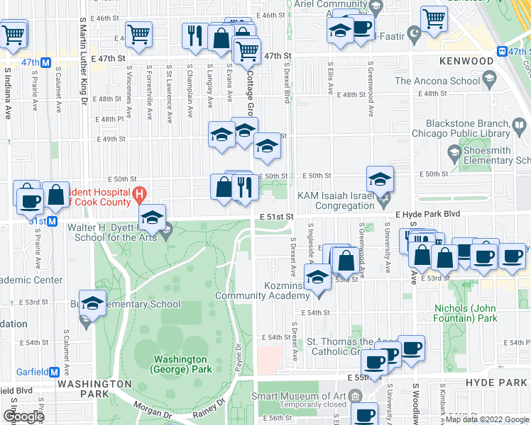 map of restaurants, bars, coffee shops, grocery stores, and more near 824 East Hyde Park Boulevard in Chicago