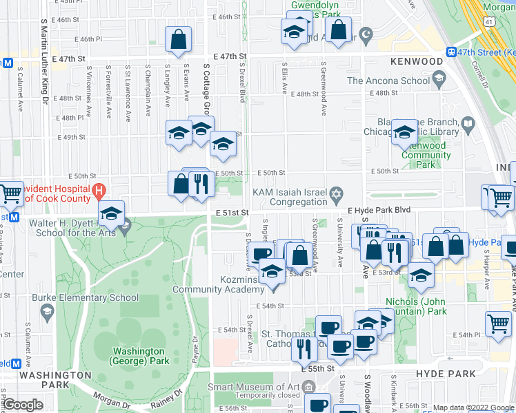 map of restaurants, bars, coffee shops, grocery stores, and more near 5049 South Drexel Avenue in Chicago