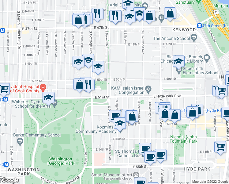 map of restaurants, bars, coffee shops, grocery stores, and more near 5043 South Drexel Avenue in Chicago