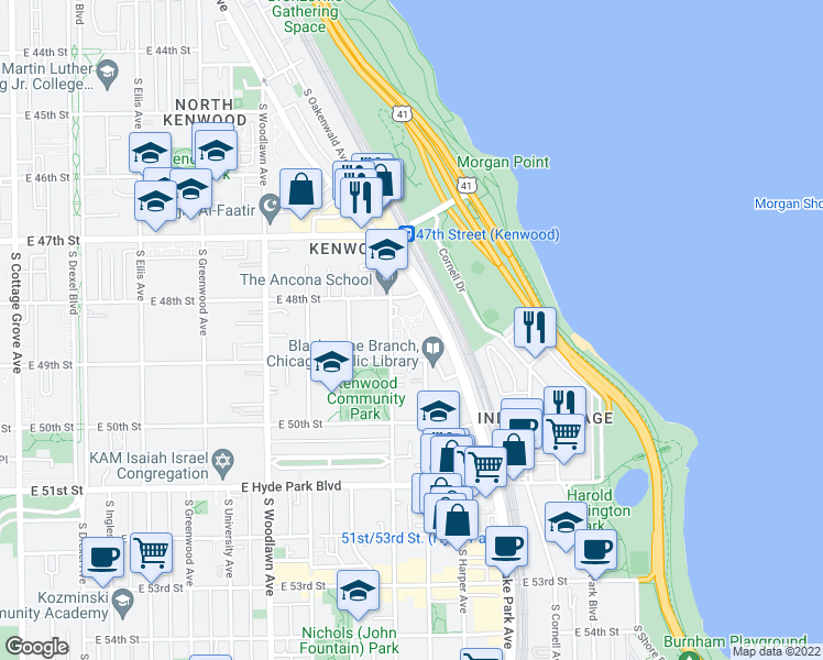 map of restaurants, bars, coffee shops, grocery stores, and more near 4850 South Lake Park Avenue in Chicago