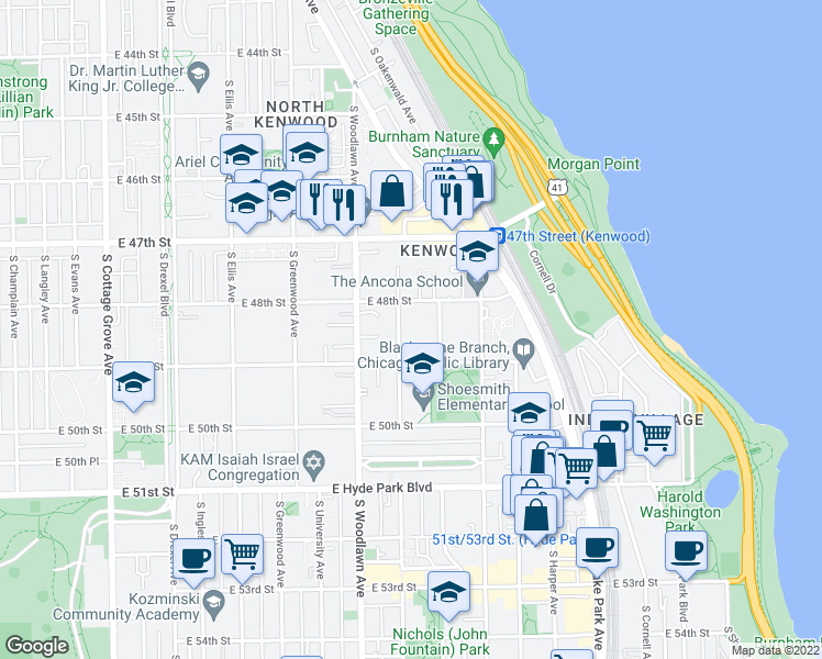 map of restaurants, bars, coffee shops, grocery stores, and more near 4829 South Kimbark Avenue in Chicago