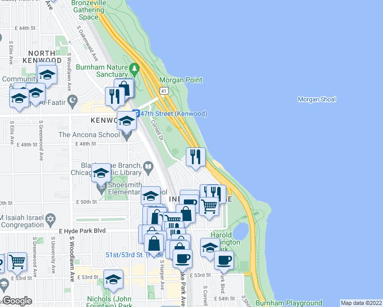map of restaurants, bars, coffee shops, grocery stores, and more near 850 East 52nd Street in Chicago