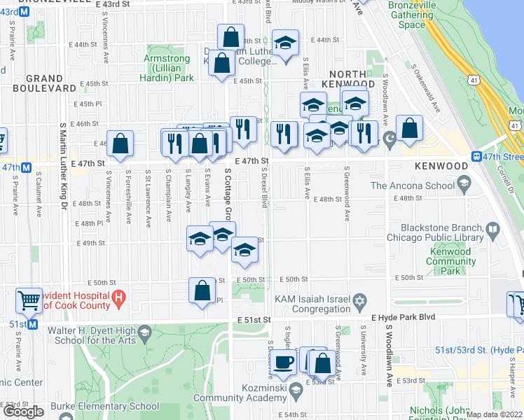 map of restaurants, bars, coffee shops, grocery stores, and more near 4822 South Drexel Boulevard in Chicago