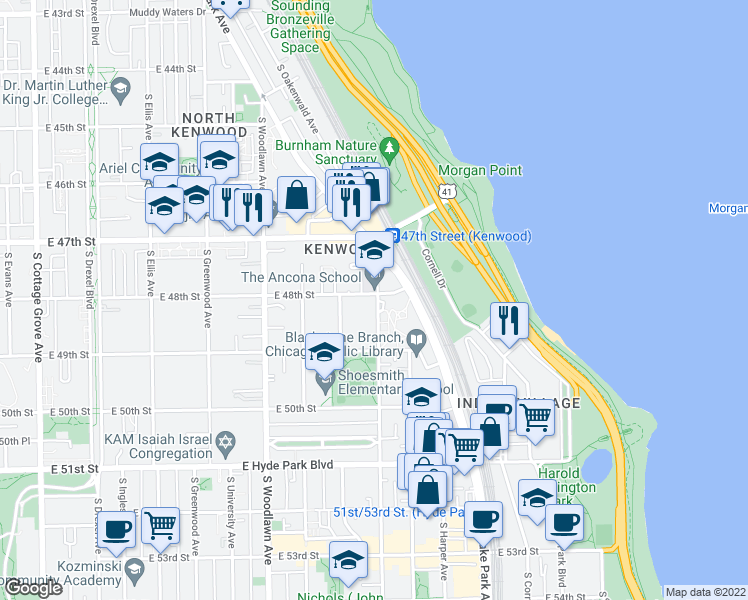 map of restaurants, bars, coffee shops, grocery stores, and more near 4818 South Dorchester Avenue in Chicago
