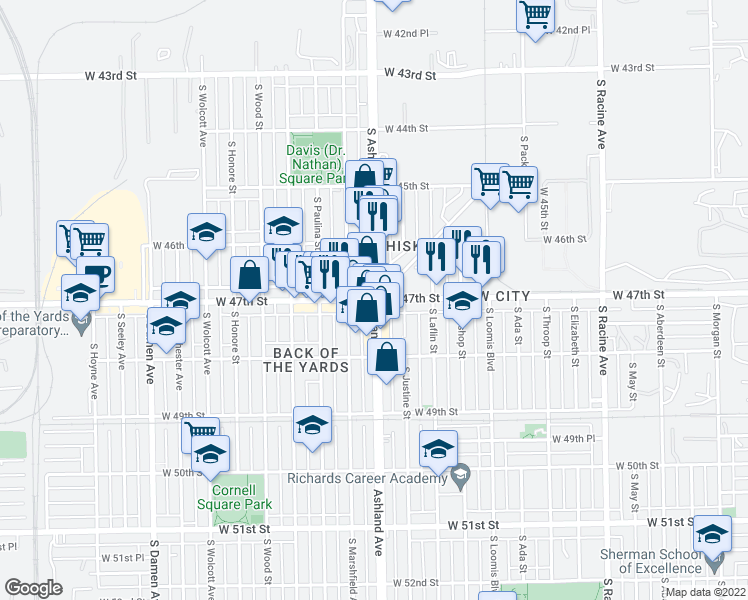 map of restaurants, bars, coffee shops, grocery stores, and more near South Ashland Avenue & West 47th Street in Chicago