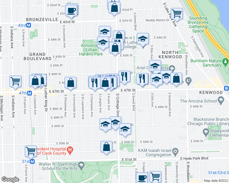 map of restaurants, bars, coffee shops, grocery stores, and more near 747 East 47th Street in Chicago
