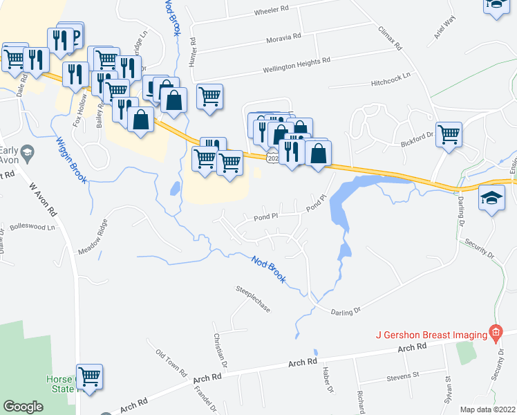 map of restaurants, bars, coffee shops, grocery stores, and more near 11 Edgewood Circle in Avon