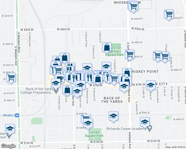 map of restaurants, bars, coffee shops, grocery stores, and more near 4622 South Honore Street in Chicago