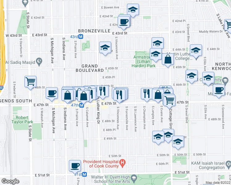 map of restaurants, bars, coffee shops, grocery stores, and more near 4620 South Vincennes Avenue in Chicago