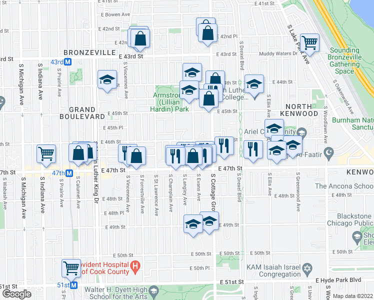 map of restaurants, bars, coffee shops, grocery stores, and more near 4627 South Langley Avenue in Chicago