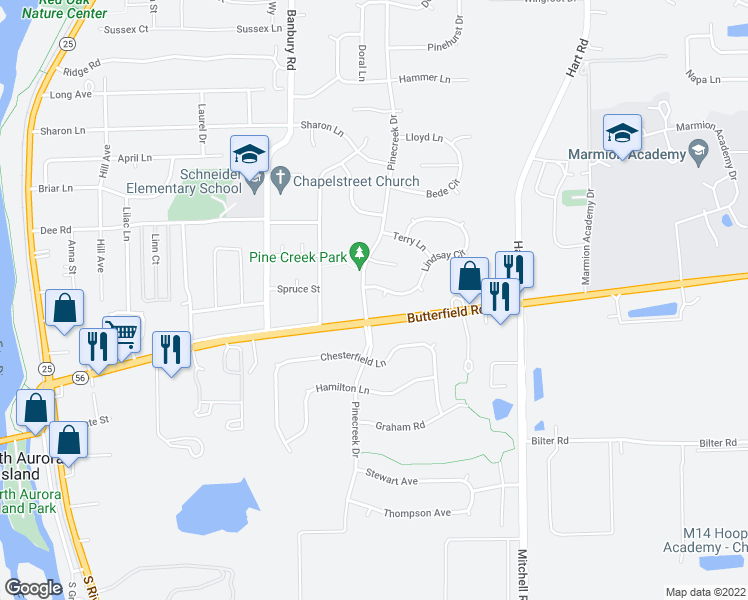 map of restaurants, bars, coffee shops, grocery stores, and more near 604 Lindsay Circle in North Aurora