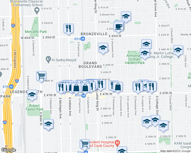 map of restaurants, bars, coffee shops, grocery stores, and more near 4550 South Doctor Martin Luther King Junior Drive in Chicago