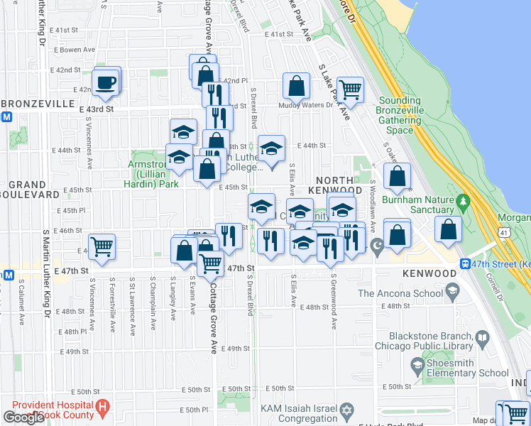 map of restaurants, bars, coffee shops, grocery stores, and more near 4537 South Drexel Boulevard in Chicago
