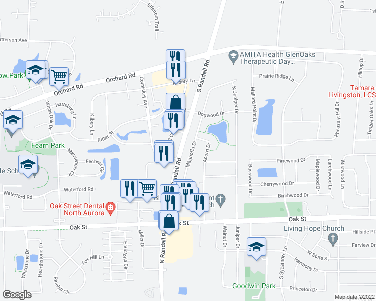 map of restaurants, bars, coffee shops, grocery stores, and more near 314 Magnolia Drive in North Aurora