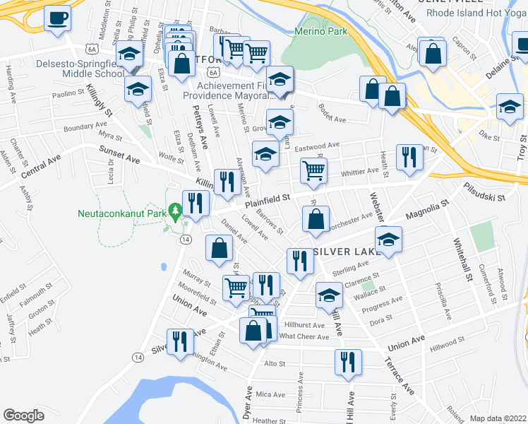 map of restaurants, bars, coffee shops, grocery stores, and more near 18 Barrows Street in Providence
