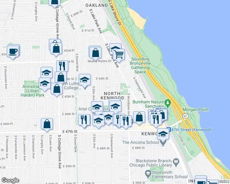 map of restaurants, bars, coffee shops, grocery stores, and more near 4451-59 South Greenwood Avenue in Chicago