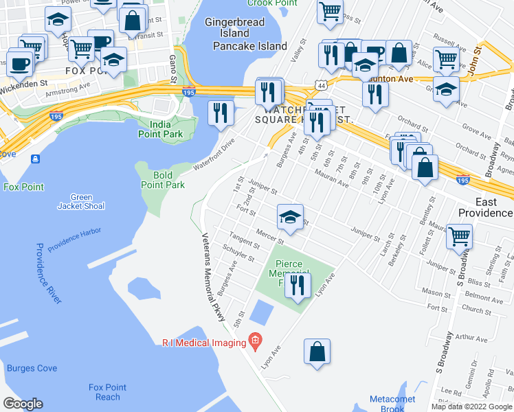 map of restaurants, bars, coffee shops, grocery stores, and more near 107 Burgess Avenue in East Providence