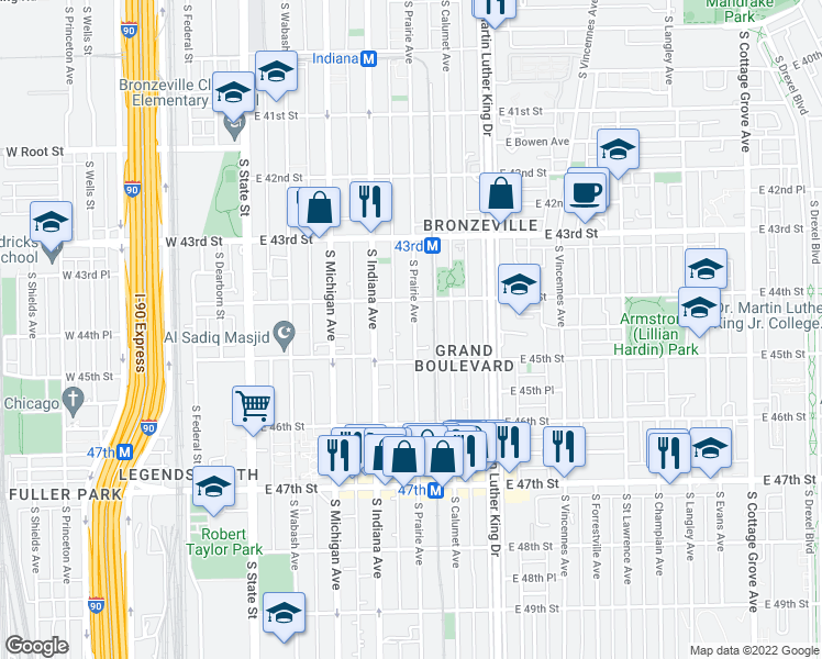 map of restaurants, bars, coffee shops, grocery stores, and more near 4450 South Prairie Avenue in Chicago