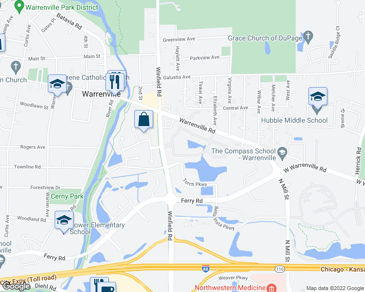 map of restaurants, bars, coffee shops, grocery stores, and more near 30000 Village Green Boulevard in Warrenville