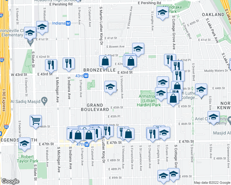 map of restaurants, bars, coffee shops, grocery stores, and more near 439 East 44th Street in Chicago